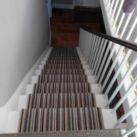 Striped carpet flooring to stairs fitted by The Carpet Store Brandon